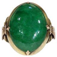 Art Deco Chinese Jade Jadite Gold Ring