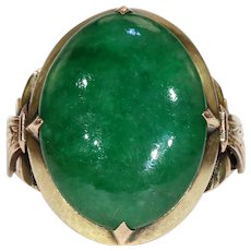 Art Deco Chinese Jade Jadite Gold Ring