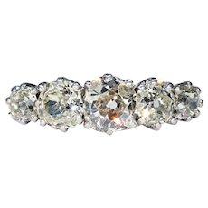Antique 5 Stone Diamond Ring 2.2 cttw in Platinum