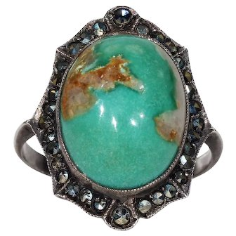 Antique Turquoise Marcasite Ring Silver