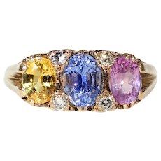 Victorian Pink Blue Yellow Sapphire Diamond Ring