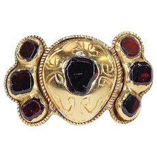 18th Century Spanish Flat Cut Garnet Ring