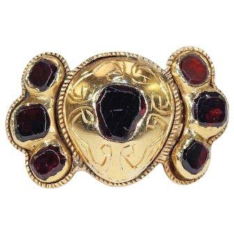 18th Century Spanish Flat Cut Garnet Ring