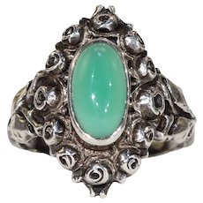 Antique Jugenstil Silver Chalcedony Ring Rose Motif