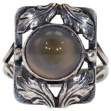 Antique Arts & Crafts Danish Bernard Hertz Silver Agate Ring
