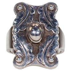 Vintage Danish Silver Leaf Ring