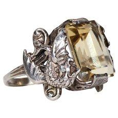 Vintage Silver Citrine Dragon Ring