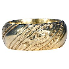 Georgian Wide Silver Gilt Wedding Band Ring