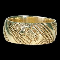Georgian Engraved Silver Gilt Wedding Band Ring