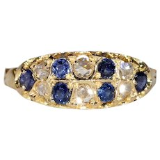 Victorian Double Row Sapphire Diamond Ring Gold