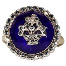 Antique Blue Enamel Marcasite Ring