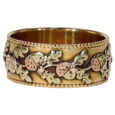 Victorian Tricolor Gold Acorn Oak Leaf Ring