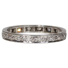 Vintage Art Deco Diamond Eternity Band Ring Size 7 18k White Gold