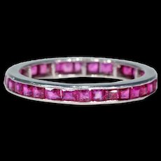 Vintage Ruby Eternity Band Ring Size 7 Platinum