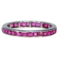 Vintage Ruby Eternity Band Ring Size 7 Platinum