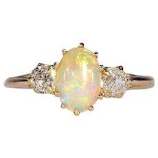 Bright Edwardian Opal Diamond Ring 18k Gold