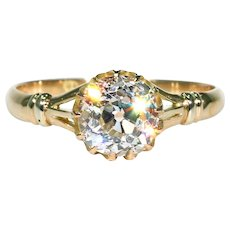 Antique 1.59 Carat Mine Cut Diamond Engagement Ring