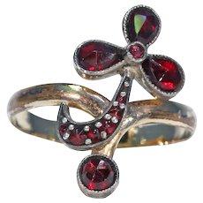 Edwardian Garnet Flower Bypass Ring