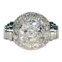 Art Deco Retro Diamond Dome Ring Cocktail Ring Platinum