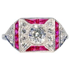 Vintage Art Deco Diamond Ruby Ring Engagement
