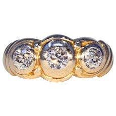 Art Nouveau 3 Stone Diamond Ring