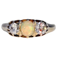 Victorian Opal Diamond 3 Stone Ring in 18k Gold