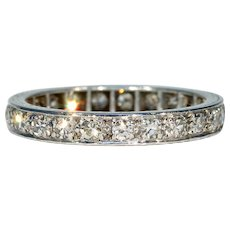 Vintage Art Deco Diamond Eternity Band Sz 7