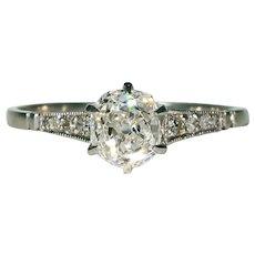Classic Edwardian Diamond Engagement Ring in Platinum