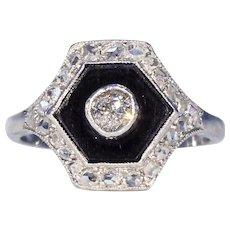 Art Deco Diamond Set Onyx Ring Platinum Cluster