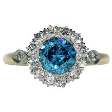 Vintage Blue Zircon Diamond Cluster Ring Engagement