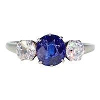 Art Deco Blue Sapphire Diamond 3 Stone Ring
