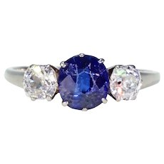 Art Deco Blue Sapphire Diamond 3 Stone Ring