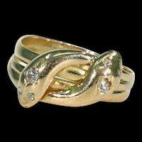 Edwardian Double Snake Ring Serpent Diamond 18k Gold