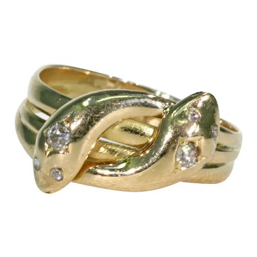 Edwardian Double Snake Ring Serpent Diamond 18k Gold