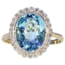 Stunning Vintage Art Deco Aquamarine Diamond Cluster Ring
