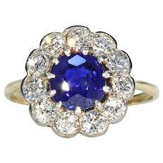 Stunning Edwardian Sapphire Diamond Cluster Ring