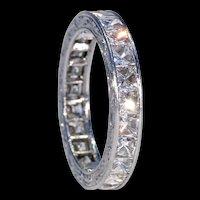 Art Deco Platinum French Cut Diamond Eternity Band Ring Sz 6.75