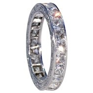 Art Deco Platinum French Cut Diamond Eternity Band Ring Sz 6.75