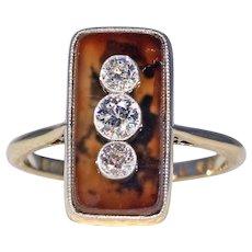 Art Deco Diamond Set Agate Ring 18k Platinum 1920s
