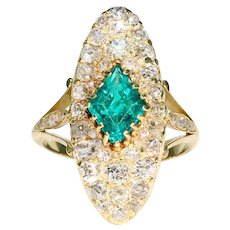 Antique French Emerald Diamond Marquis Ring 18k Gold