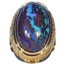 Stunning Mid-Century Boulder Opal Gold Ring 18k Gold