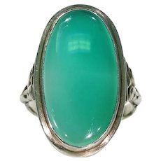 Antique Green Chalcedony Silver Ring