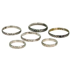 Set of 6 Antique Silver Band Rings