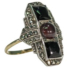 Art Deco Garnet Onyx Marcasite Cocktail Ring Silver Gold
