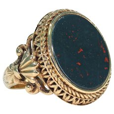 Antique Bloodstone Gold Austro-Hungarian Mans Ring