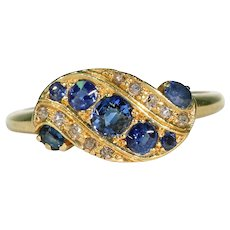 Edwardian Sapphire Diamond Ribbon Ring