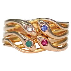 Sapphire Ruby Diamond Emerald Four Snake Ring 14k Gold