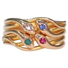 Sapphire Ruby Diamond Emerald Four Snake Ring 14k Gold