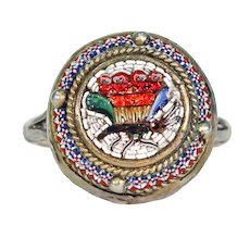 Victorian Silver Micro Mosaic Ring Butterfly