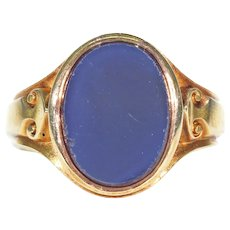 Mens Onyx Gold Signet Ring Carved Shoulders